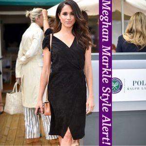 Polo Ralph Lauren Black Suede Wrap Dress